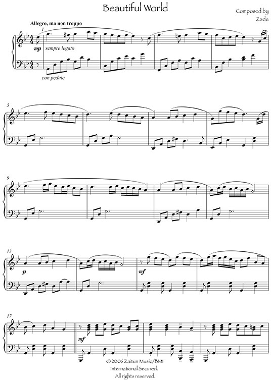 Music Sheet Beautiful World
