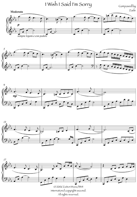 Music Sheet I Wish I Said I Was Sorry